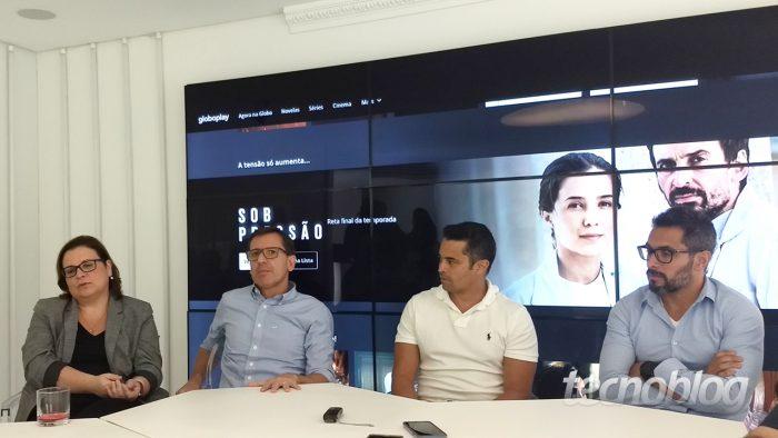 Bianca Serra (head de conteúdo), João Mesquita (diretor-geral), Marcelo Souza (diretor de produtos) e Thiago Verly (gerente de produtos)