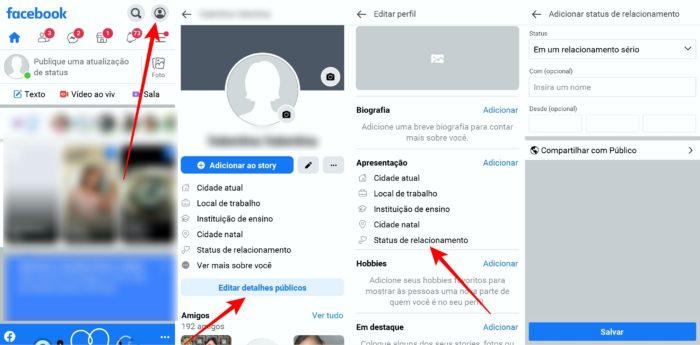 Caminho para colocar relacionamento sério pelo aplicativo Facebook Lite