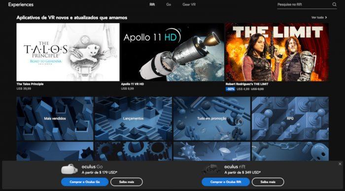 Oculus Store / aplicativos para óculos de realidade virtual