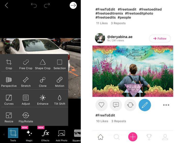 iPhone / PicsArt / editores de fotos para iphone