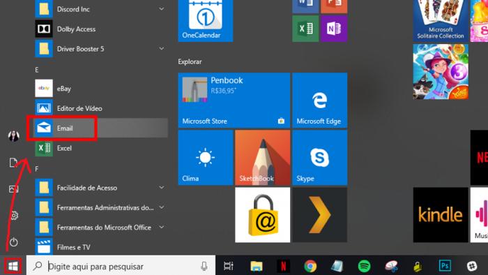 email windows 10 / reprodução