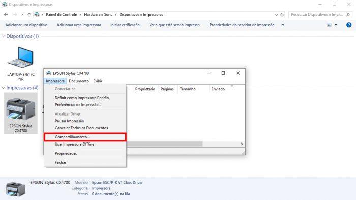 Menu de impressoras do Windows / grupo doméstico windows 7