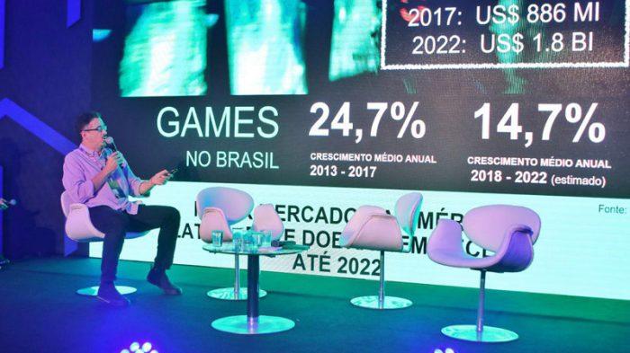 O ministro da Cultura, Sérgio Sá Leitão, ao apresentar a nova política para o mercado de games