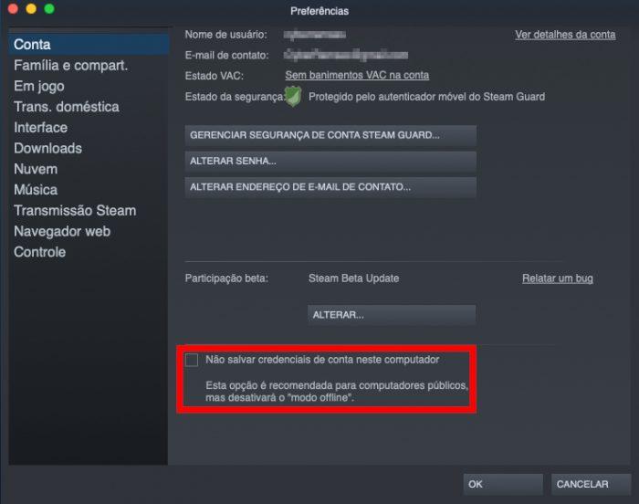 Valve / preferências do Steam / Steam offline