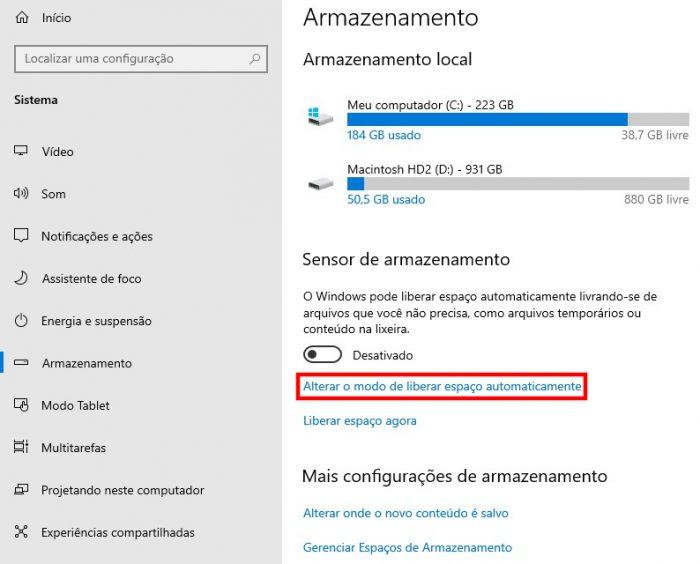 Windows 10 / Sensor de Armazenamento / Como liberar espaço no PC