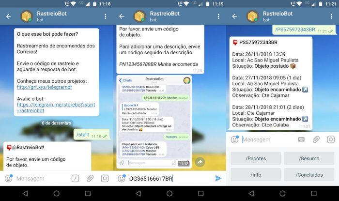 Telegram / Rastreiobot / rastreamento correios