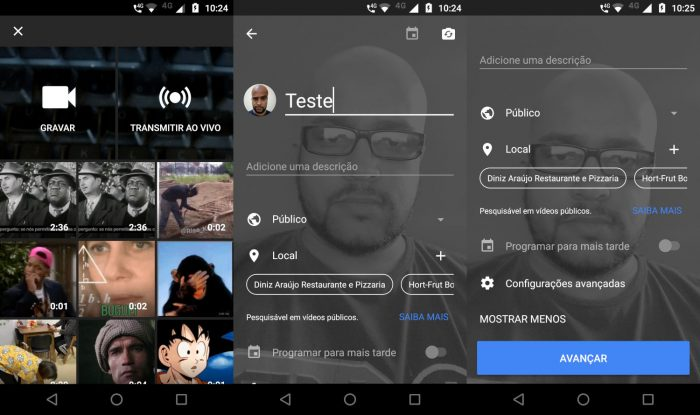 Tela da ferramenta mobile de transmissão ao vivo / como fazer live no YouTube
