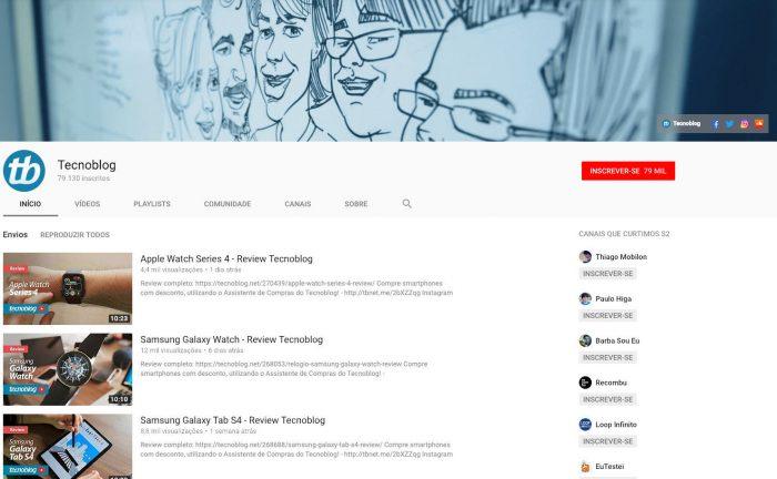 Página do canal do Tecnoblog no YouTube / como fazer capa para youtube