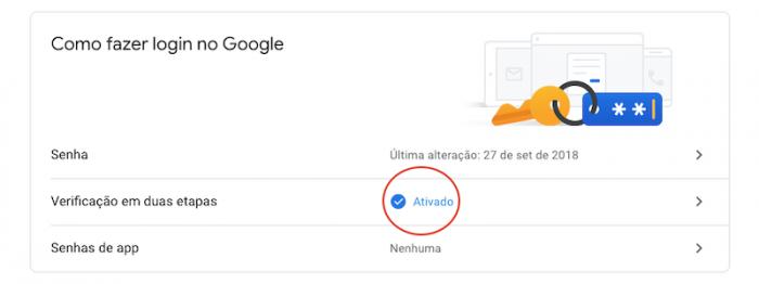 Dupla Autenticação Google Login Ativada