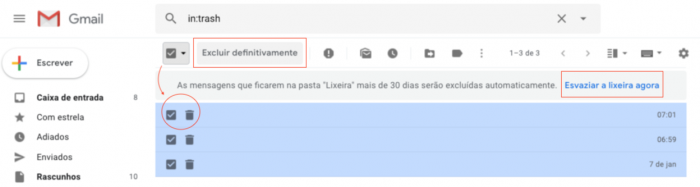 Esvaziar Lixeira Gmail