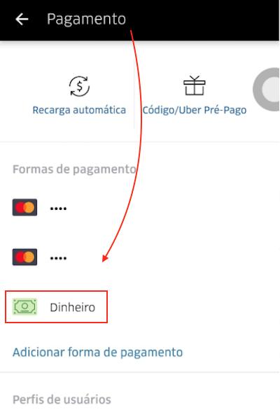 Pagamento em Dinheiro no Uber