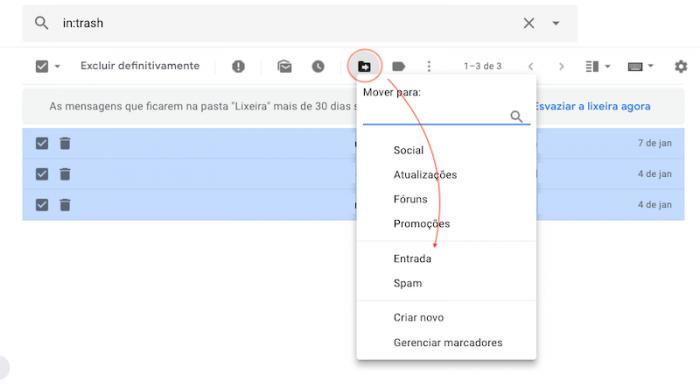 Recuperar mensagens da Lixeira Gmail