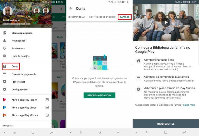 Android / Biblioteca da Família / compartilhar aplicativos