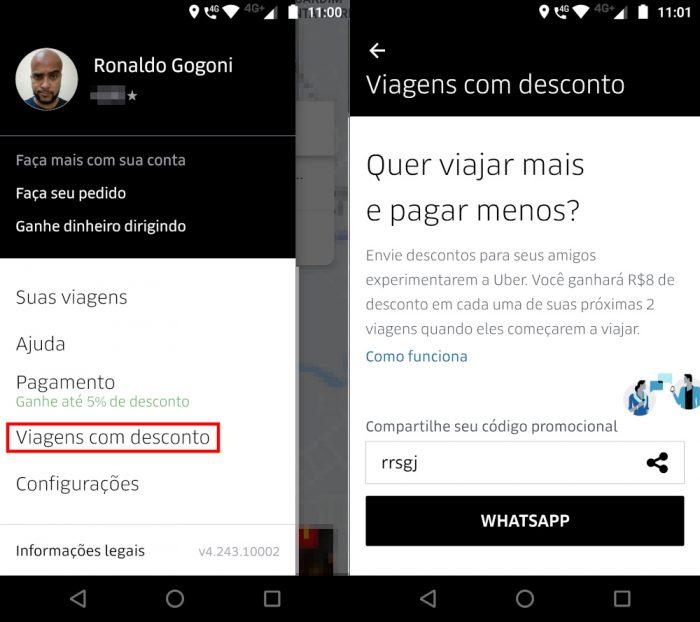 Android / Uber / como usar código promocional uber