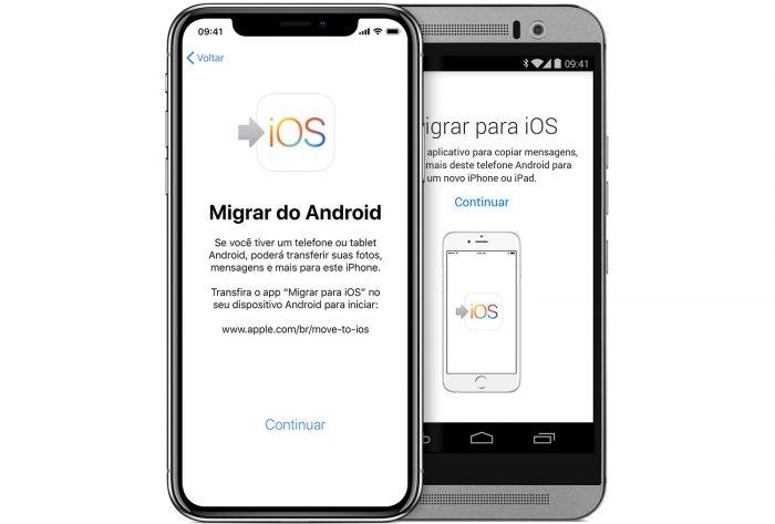 Apple / app Migrar para iOS / sms para celular