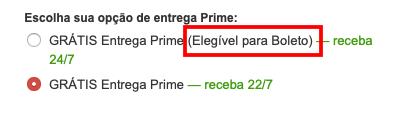 Opção de entrega influi na opção do boleto bancário na Amazon