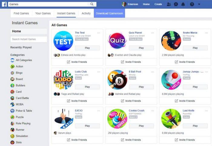 Facebook - jogos