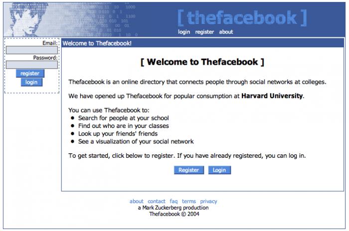 Facebook / primeira versão / quem fundou o facebook