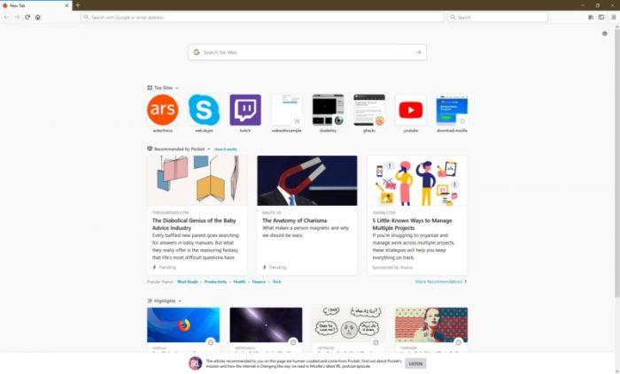 Páginas sugeridas no Firefox