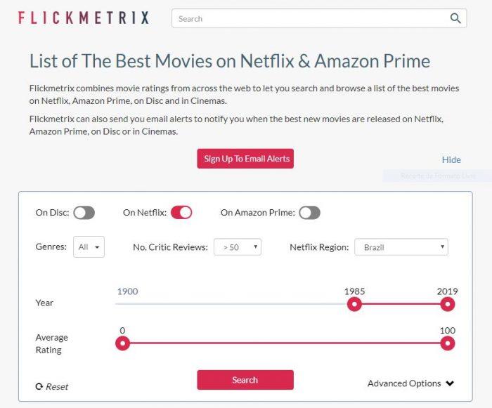 Interface do Flickmetrix / melhores filmes netflix