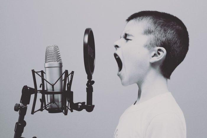 Free Photos / garoto gritando em frente a um microfone / Pixabay / transcrição de áudio