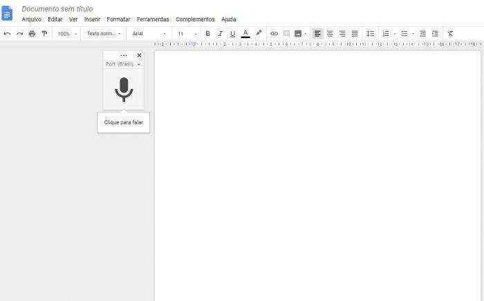 Google Docs / Digitação por voz / como transcrever áudio do Google Docs