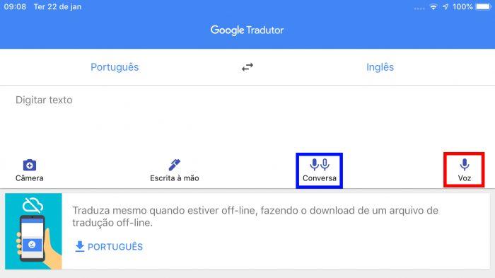 Google Tradutor no iPad / traduzir voz