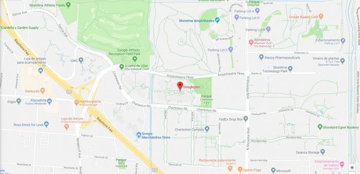 Endereço do Googleplex no Google Maps / onde fica a sede do Google