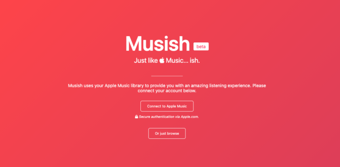 Musi.sh é alternativa do player do Apple Music na web (Imagem: Reprodução/Musi.sh)