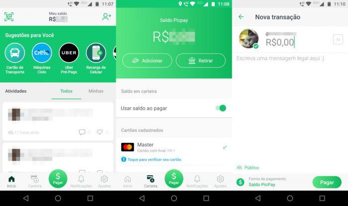 Android / interface do PicPay / picpay como funciona