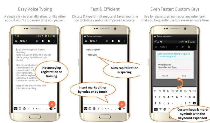 Android / Speechnotes / transcrição de áudio
