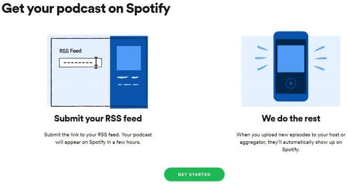 Web / página de inscrição de podcasts no Spotify / podcast Spotify