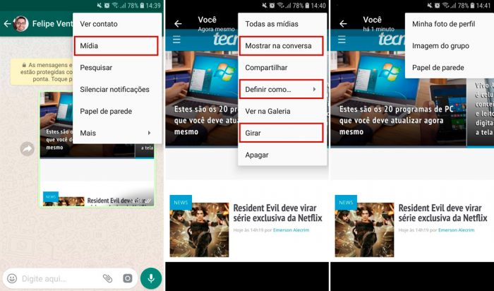 WhatsApp para Android buscará trecho da conversa em que foto foi enviada