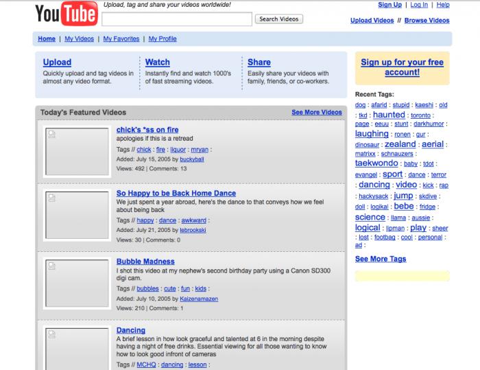 Página original do YouTube, em 2005 / quem criou o youtube
