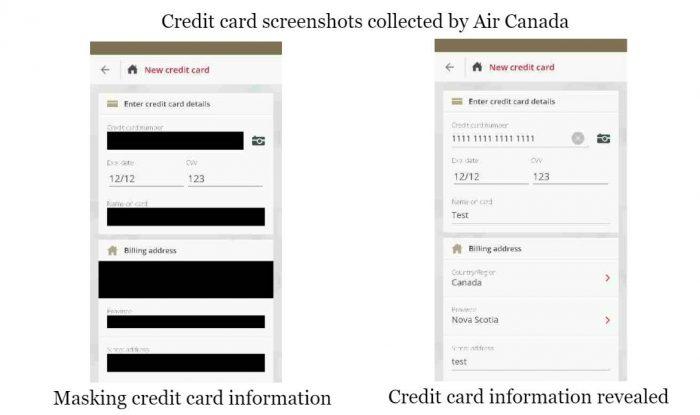 Frequentemente, o app da Air Canada falha em ocultar dados sensíveis