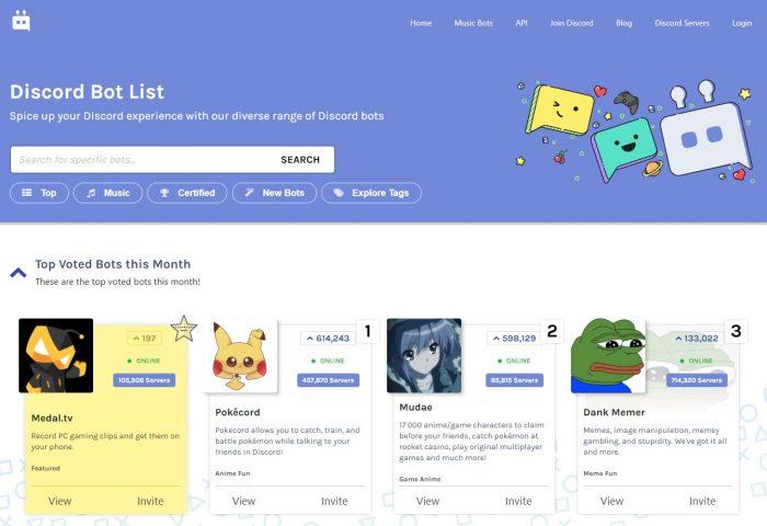 Página do site Discord Bot List (Imagem: Reprodução/Discord Bot List)
