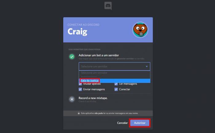 Discord / tela de autenticação do bot Craig / como fazer um podcast pelo discord