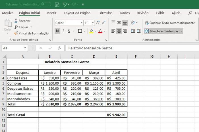 Microsoft Excel / exemplo de planilha com célula mesclada / como mesclar células no excel