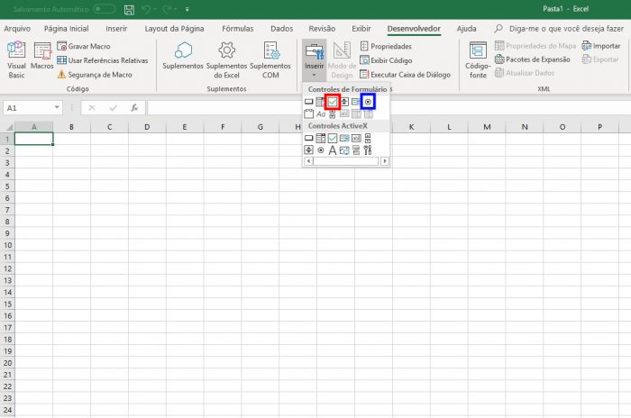 Excel / caixa de seleção excel