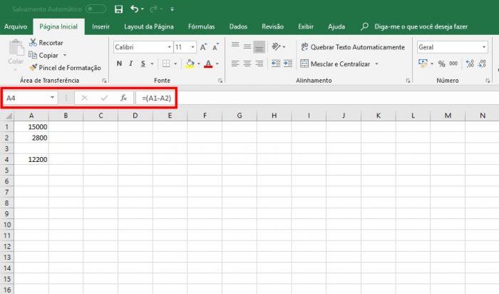 Microsoft Excel / como subtrair no excel