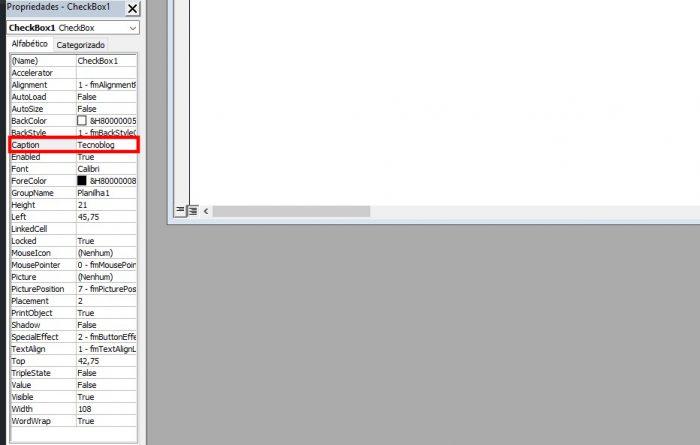 Visual Basic / caixa de seleção excel