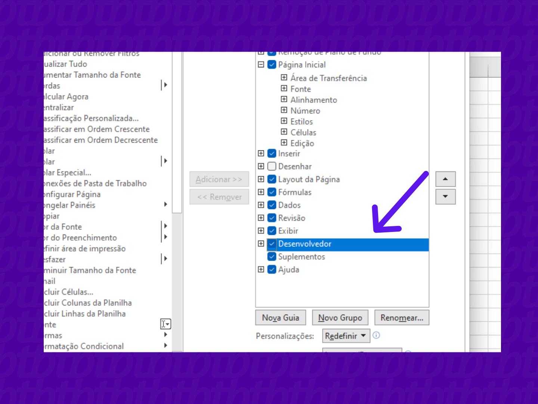 screenshot do excel par ativar a opção desenvolvedor