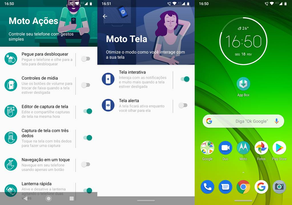 Moto Tela e Moto Ações