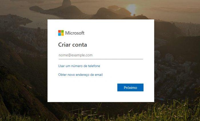 Microsoft / página de criação do e-mail do Outlook / criar e-mail