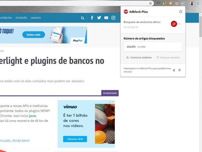 Como desbloquear o AdBlock / Screenshot