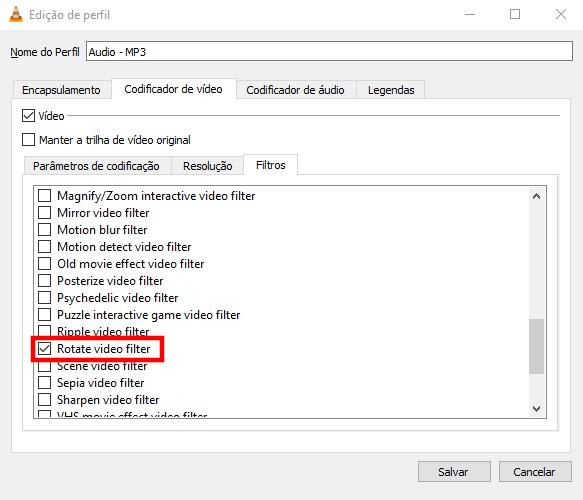 Opções do VLC / como girar um video no vlc