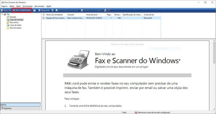 Fax e Scanner do Windows / como escanear em uma impressora