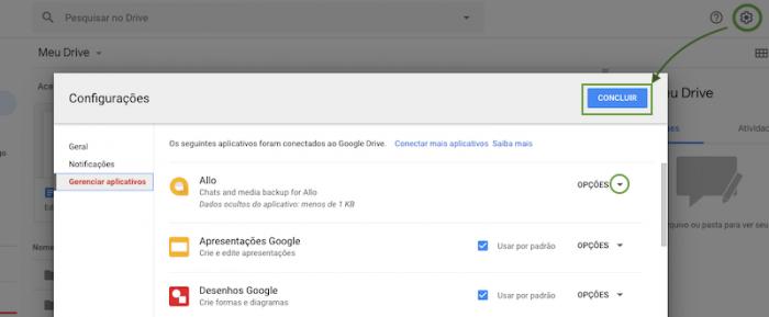 Apagar arquivos ocultos Google Drive