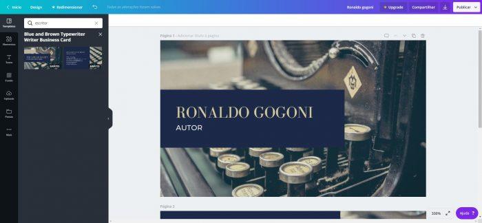 Página de edição do Canva / cartão de visita virtual