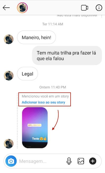 Compartilhar Story em que você foi citado no Instagram